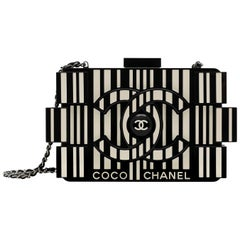 Chanel Runway Black Resin Ivory Box 2 in 1 Evening Clutch Chain Shoulder Bag