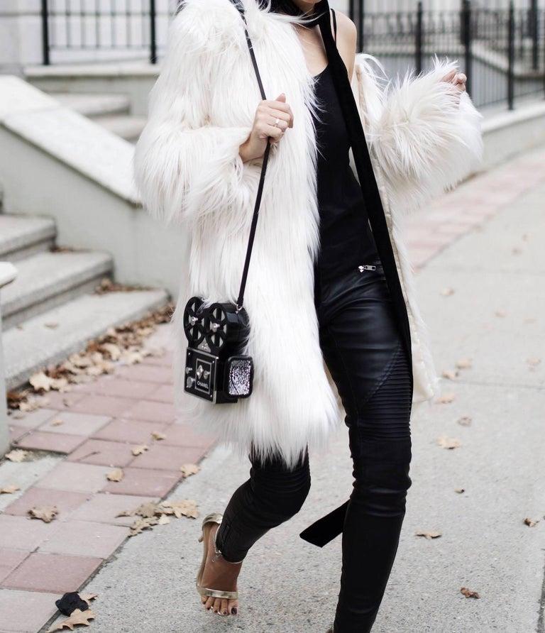 Chanel Runway Black Resin Satin Crystal Film Evening Clutch Shoulder Bag For Sale 1