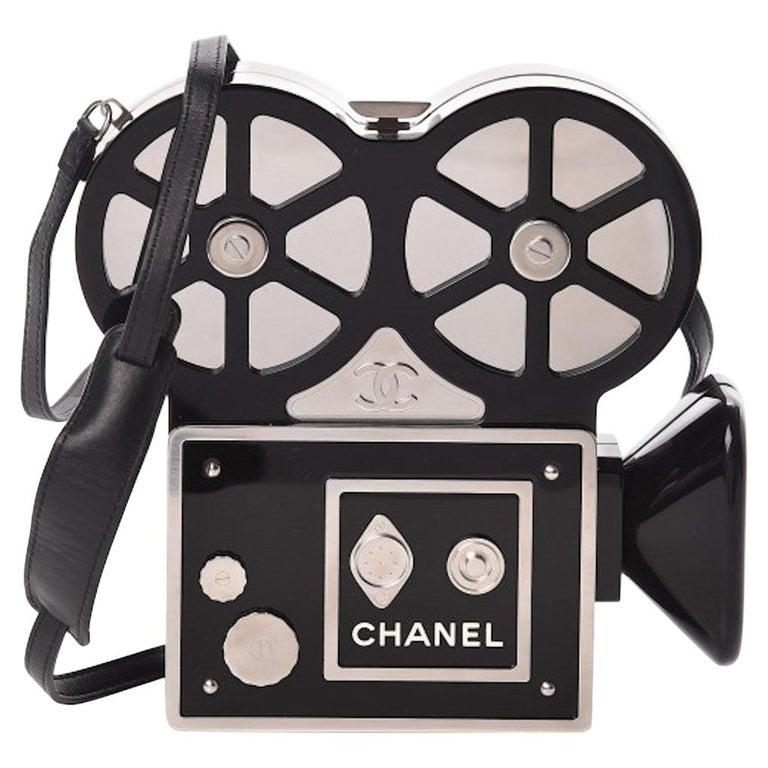 Chanel Runway Black Resin Satin Crystal Film Evening Clutch Shoulder Bag For Sale