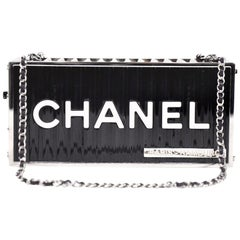 Chanel Runway Black Silver Rectangle Box 2 in 1 Clutch Shoulder Bag in Box
