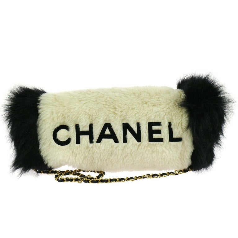 Beige Chanel Runway Black White Fur Gold Logo Evening Muffler Shoulder Hand Mitt Bag For Sale