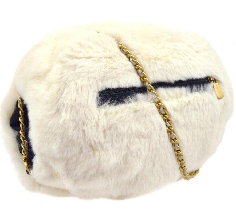 Women's Chanel Runway Black White Fur Gold Logo Evening Muffler Shoulder Hand Mitt Bag For Sale