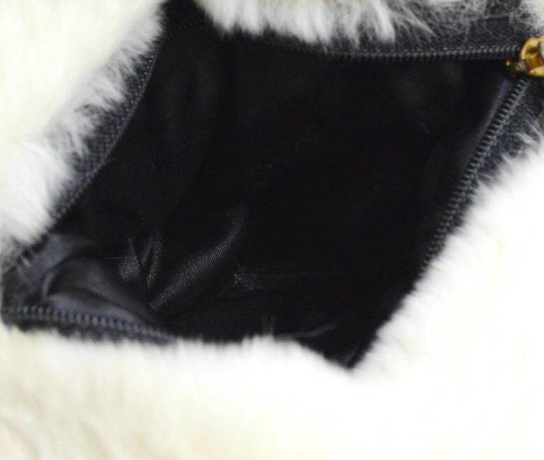 Chanel Runway Black White Fur Gold Logo Evening Muffler Shoulder Hand Mitt Bag For Sale 2