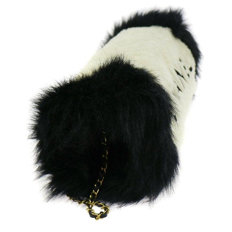 Chanel Runway Black White Fur Gold Logo Evening Muffler Shoulder Hand Mitt Bag For Sale 1