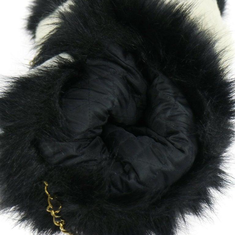 Chanel Runway Black White Fur Gold Logo Evening Muffler Shoulder Hand Mitt Bag For Sale 3