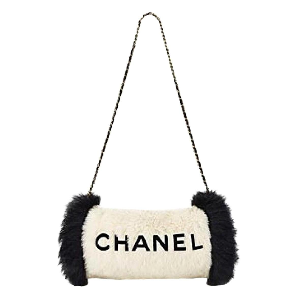 Chanel Runway Black White Fur Gold Logo Evening Muffler Shoulder Hand Mitt Bag