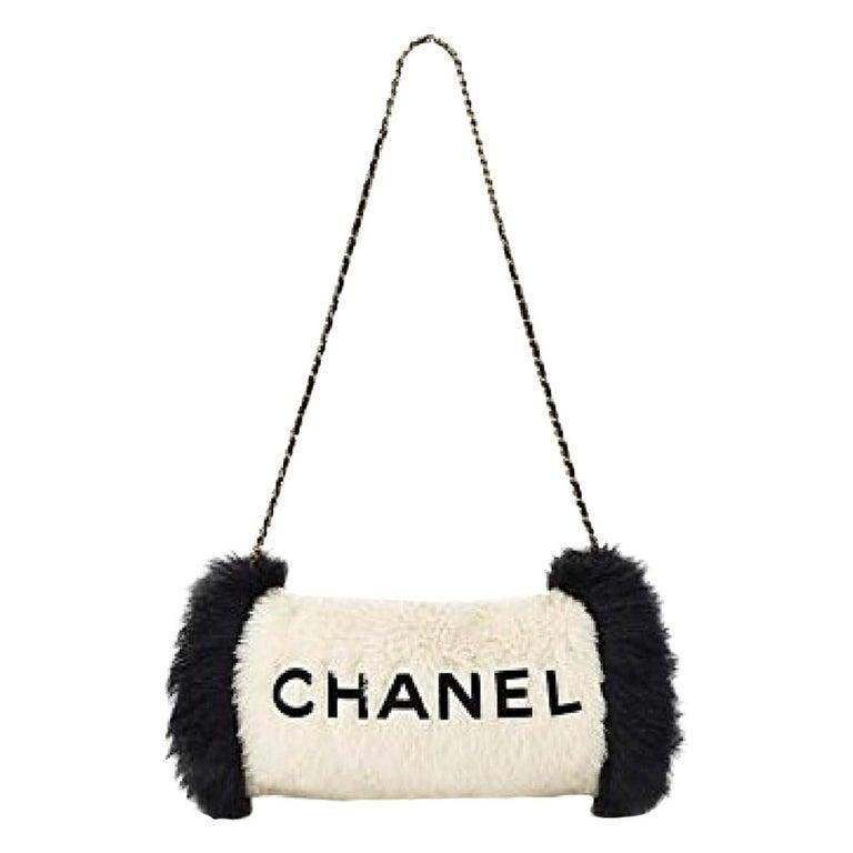 Chanel Runway Black White Fur Gold Logo Evening Muffler Shoulder Hand Mitt Bag For Sale