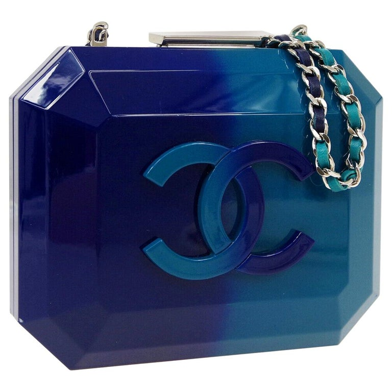 Chanel Runway Blue Ombre Resin Silver Leather Evening Clutch Shoulder Box  For Sale