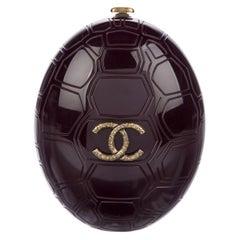 Chanel Runway Burgundy Gold Oval Round Plexiglass Evening Shoulder Chain Bag