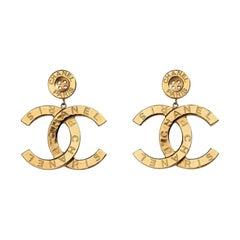 Chanel Runway Button Metal Logo Large Dangle Drop Statement Earrings