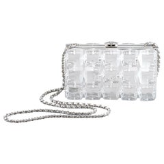 Chanel Runway Clear Plexi Block Cube Silver Leather Evening Clutch Shoulder Bag
