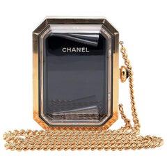 Chanel Runway Clear Plexiglass Black Gold Chain Watch Evening Shoulder Bag