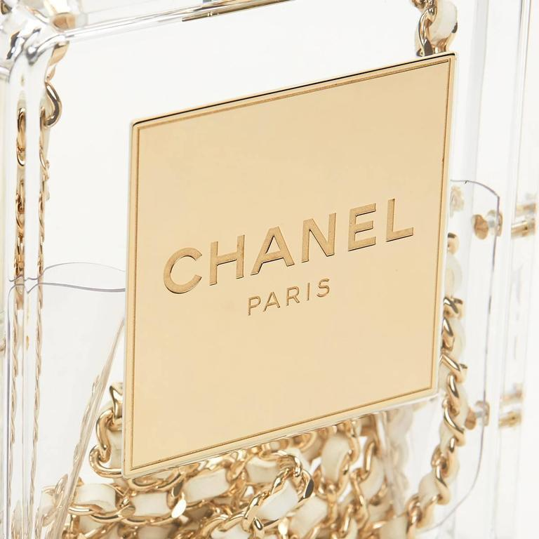 Women's Chanel Runway Clear Resin Leather Gold Perfume Bottle Chain Evening Shoulder Bag For Sale