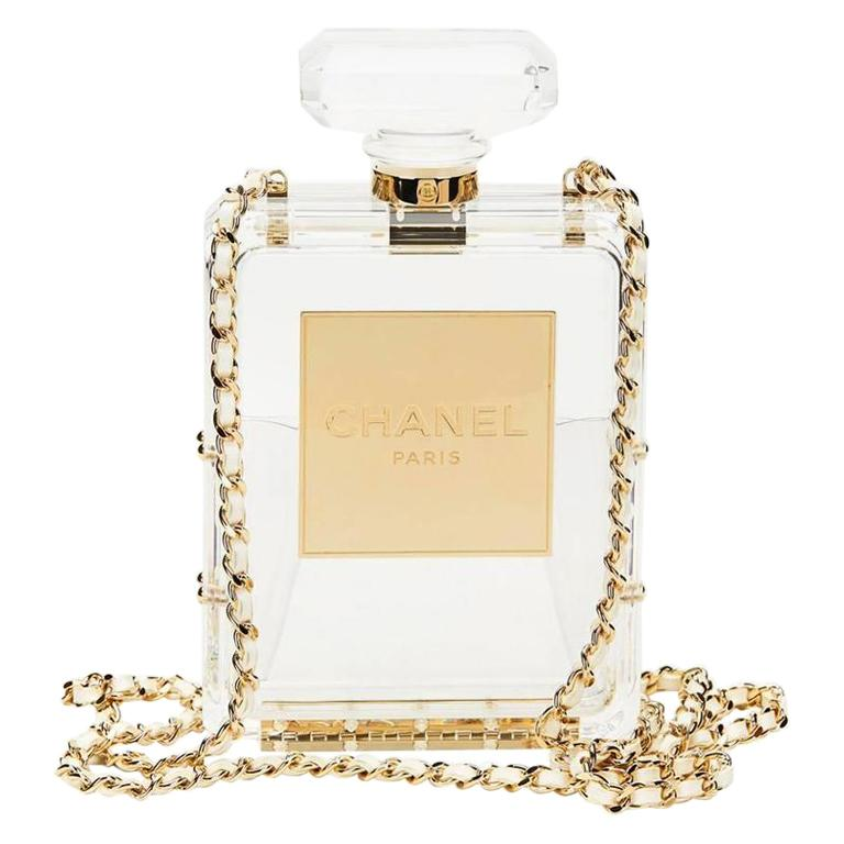 Chanel Runway Clear Resin Leather Gold Perfume Bottle Chain Evening Shoulder Bag For Sale