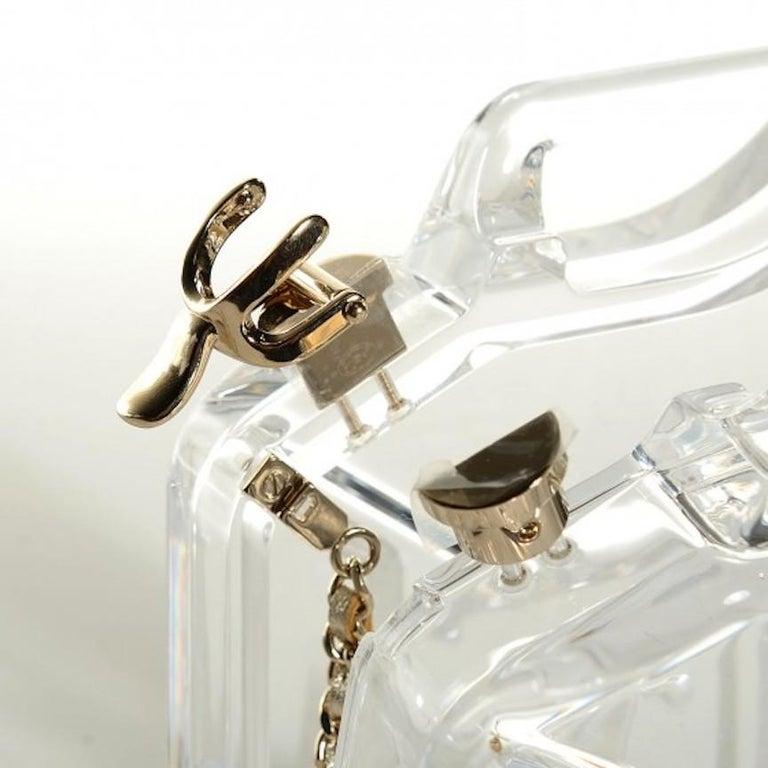 Beige Chanel Runway Clear Translucent Gold Leather Evening Shoulder Bag in Box For Sale
