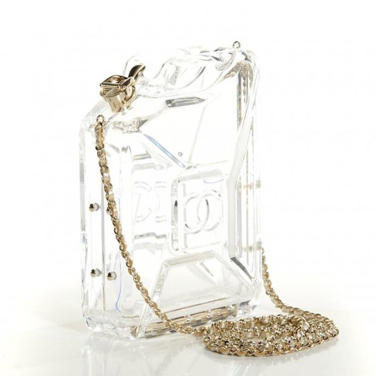 Chanel Runway Clear Translucent Gold Leather Evening Shoulder Bag in Box In Good Condition For Sale In Chicago, IL