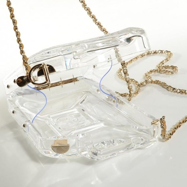 Women's Chanel Runway Clear Translucent Gold Leather Evening Shoulder Bag in Box For Sale