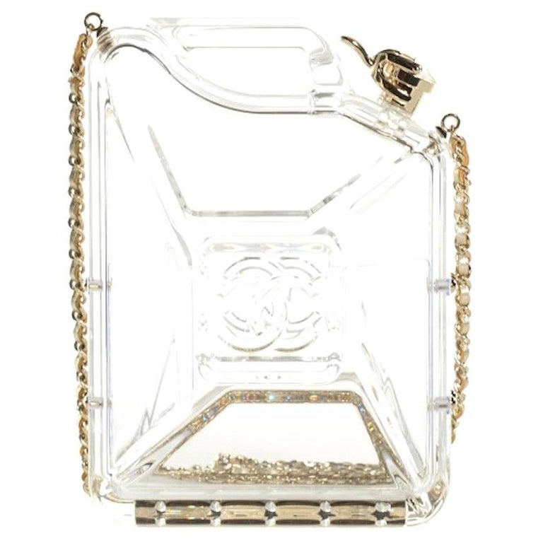 Chanel Runway Clear Translucent Gold Leather Evening Shoulder Bag in Box For Sale