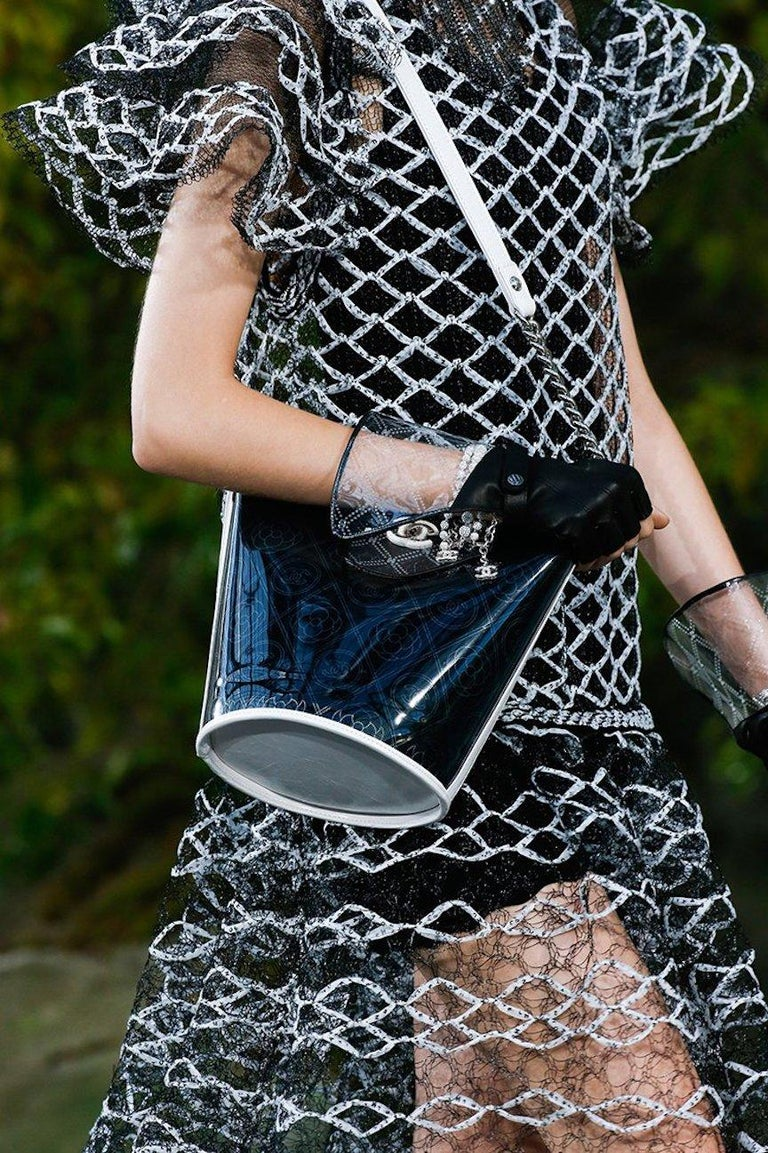 Chanel Runway Clear Translucent Silver Evening Chain Carryall Bucket Shoulder Bag  PVC Leather Silver tone hardware Drawstring closure  Date code present Made in France Shoulder strap drop 22