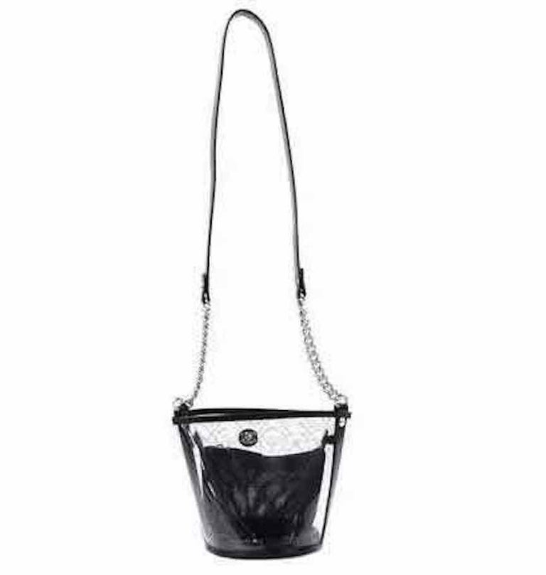 Chanel Runway Clear Translucent Silver Evening Chain Carryall Shoulder Bag In Excellent Condition For Sale In Chicago, IL