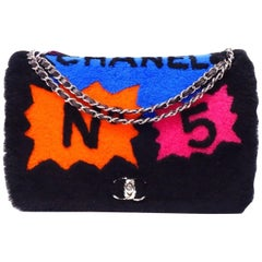 Chanel Runway Faux Fur Black Silver Leather No 5 CC Evening Shoulder Flap Bag