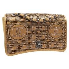 Chanel Runway Gold Satin Rhinestone Silver Evening Shoulder Flap Bag in Box
