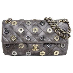 Chanel Runway Gray Gold Gunmetal Rhinestone Medium Shoulder Flap Evening Bag