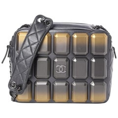 Chanel Runway Gray Gold Plexiglass Leather Small Evening Shoulder Bag