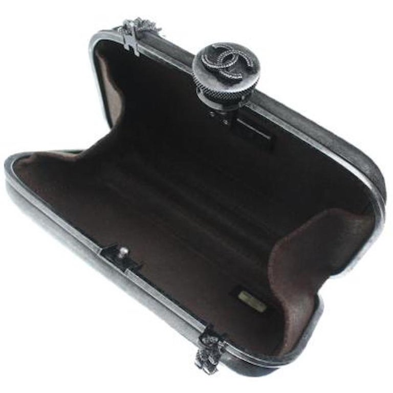 Chanel Runway Gunmetal Gray Metal Canteen Evening Clutch Shoulder Bag For Sale 1