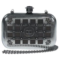 Chanel Runway Gunmetal Gray Metal Canteen Evening Clutch Shoulder Bag