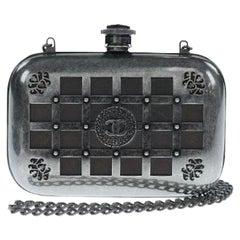 Chanel Runway Gunmetal Gray Metal Canteen Evening Clutch Shoulder Bag