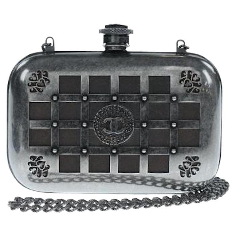 Chanel Runway Gunmetal Gray Metal Canteen Evening Clutch Shoulder Bag For Sale