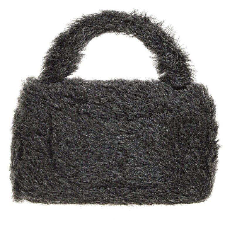 Chanel Runway Kelly Fantasy Rabbit Fur Top Handle Satchel Evening Bag in Box In Good Condition For Sale In Chicago, IL