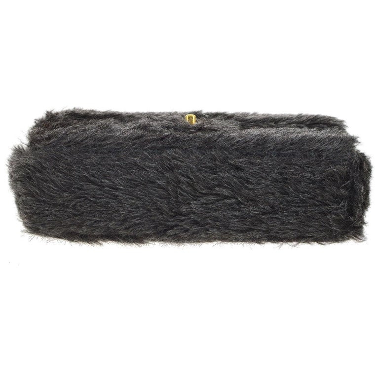 Women's Chanel Runway Kelly Fantasy Rabbit Fur Top Handle Satchel Evening Bag in Box For Sale