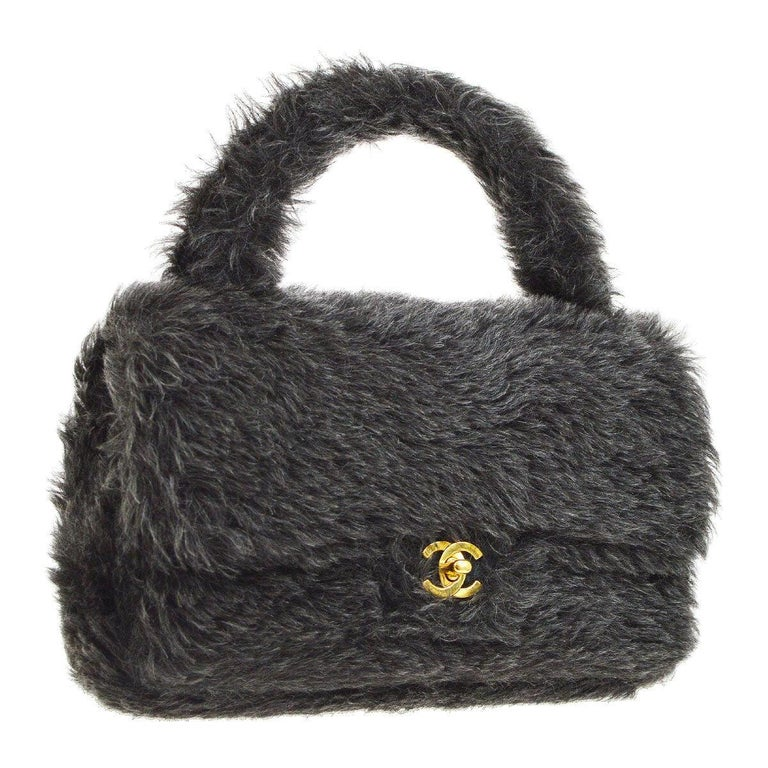 Chanel Runway Kelly Fantasy Rabbit Fur Top Handle Satchel Evening Bag in Box For Sale