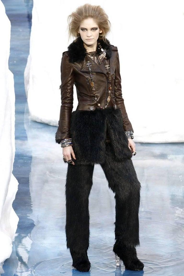 Chanel Runway Leather & Faux Fur Biker Coat, Fall-Winter 2010-2011 For Sale 5