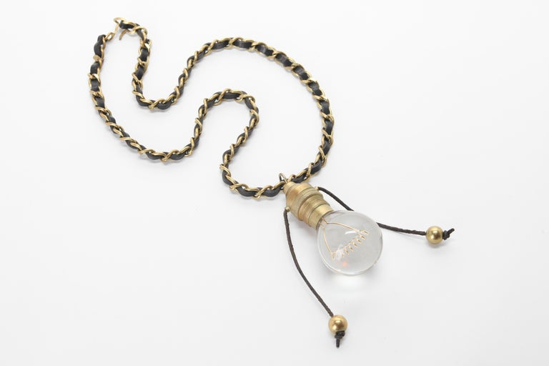 CHANEL Runway Leather Gold Light Bulb Chain Necklace 1994 In Good Condition For Sale In New York, NY