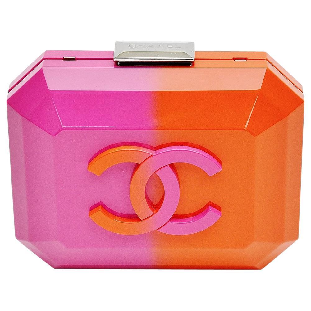 Chanel Runway Minaudière Ombre Pink & Orange Hard Shell Handbag Clutch