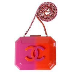 Chanel Runway Minaudière Ombre Pink & Orange Hard Shell Handbag