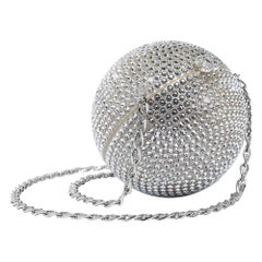 Chanel Runway Off White Round Evening Clutch Crystal Ball Shoulder Flap Bag