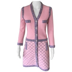 Chanel Runway Pink Cashmere Camellia Buttons Pink Dress