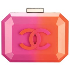 Chanel Runway Pink Orange Resin Silver Leather Evening Clutch Shoulder Box Bag