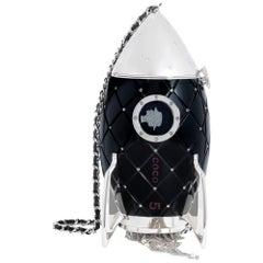 Chanel Runway Rare Black Resin Leather Silver Rocket Evening Shoulder Bag