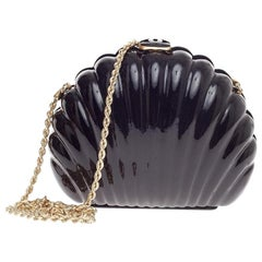 Chanel Runway Shell Black Acrylic Gold 2 in 1 Evening Clutch Shoulder Bag in Box