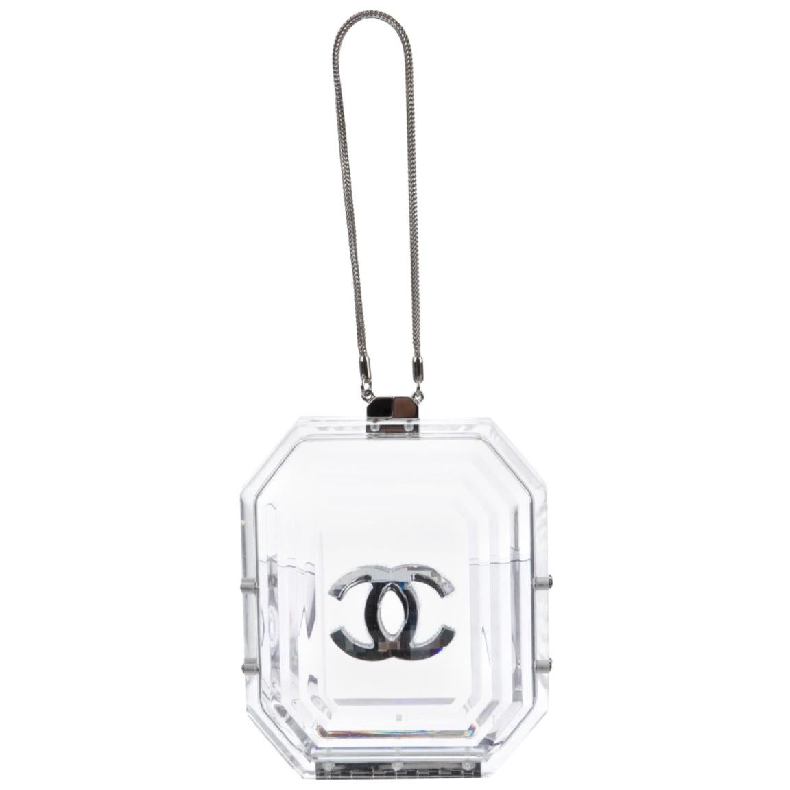 Chanel Runway Small Clear Acrylic Silver Leather Evening Clutch Shoulder Bag