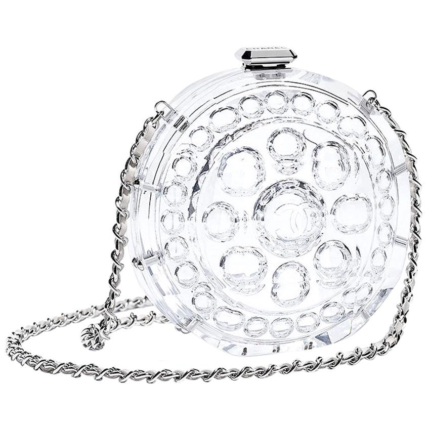 Chanel Runway Small Clear Plexi Round Silver Leather Evening Clutch Shoulder Bag