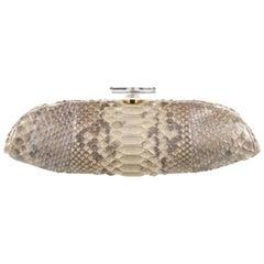 Chanel Runway Snakeskin Nude Tan Perfume Top Acrylic Pochette Evening Clutch Bag
