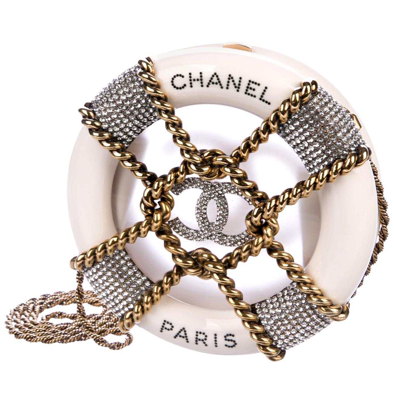 Chanel Runway Off White Crystal Gold Round Evening Clutch Shoulder Bag