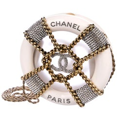 Chanel Runway White Crystal Gold Round Evening Clutch Shoulder Bag in Box