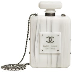 Chanel Runway White Marble Lucite Leather Evening Bottle Shoulder Bag in Box